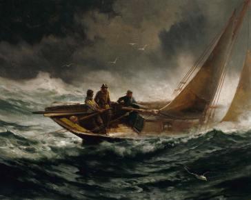 Riding Out A Gale - Edward Moran